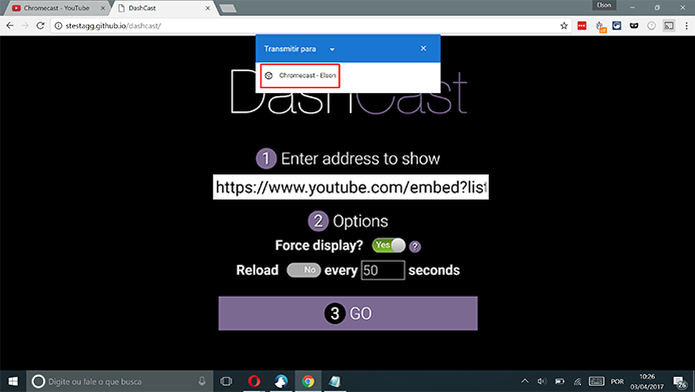 Selecione o Chromecast para qual deseja transmitir o vídeo do YouTube (Foto: Reprodução/Elson de Souza)