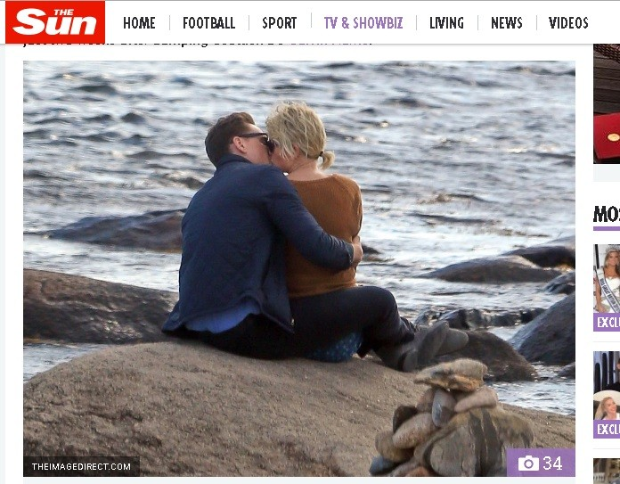 Taylor Swift foi flagrada beijando o ator Tom Hiddleston (Foto: Reproduo/The Sun)
