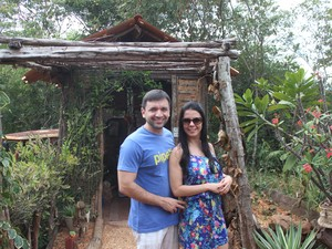 Casal revela que ficou encantado com o ambiente rústico (Foto: Pedro Santiago/G1)