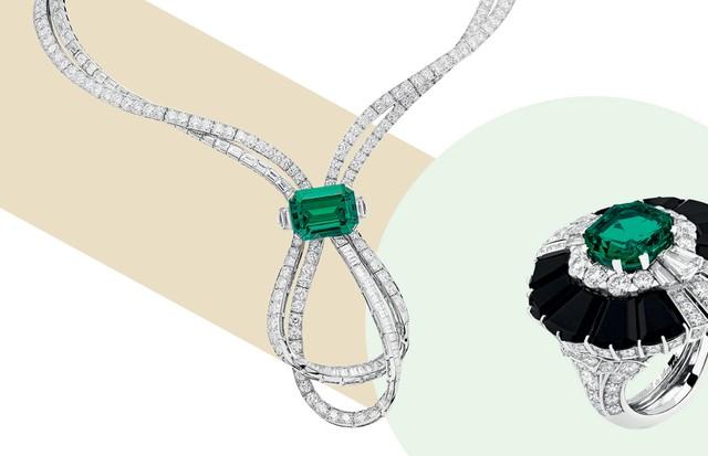 Colar de diamantes e esmeralda colombiana de 18 quilates e anel de diamantes, esmeralda e ônix (Foto: Shutterstock, Divulgação e Reprodução Instagram)