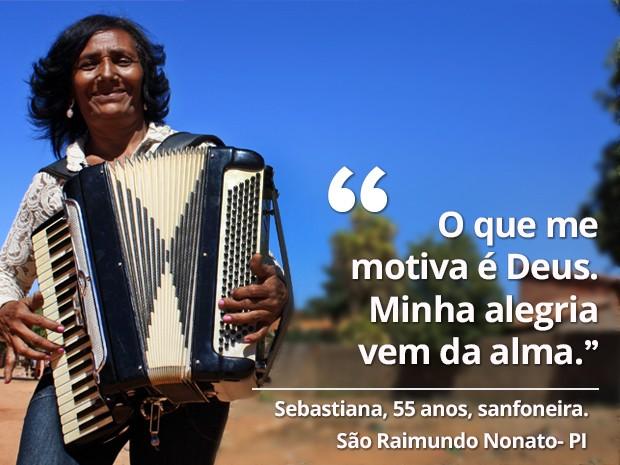 Sanfoneira enfrentou dificuldades desde a infância (Foto: Gustavo Almeida/G1)