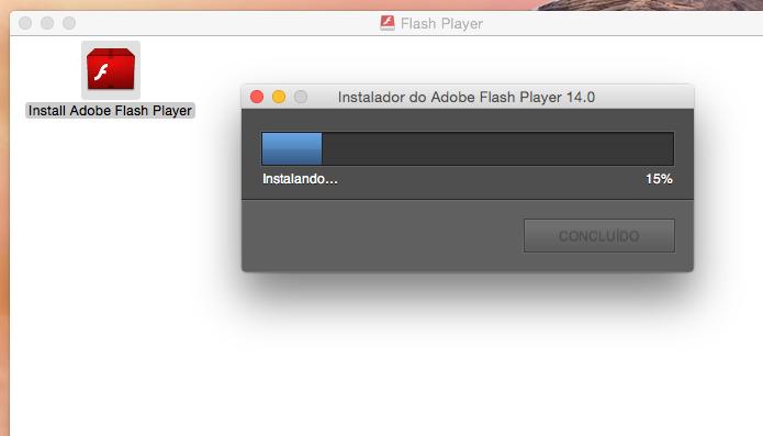 Instalador baixando e instalando o Flash (Foto: Reprodução/Edivaldo Brito)