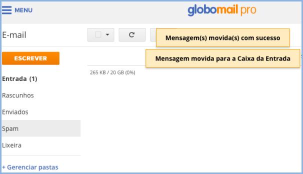 Mover mensagem da pasta spam (Foto: Mover mensagem da pasta spam)