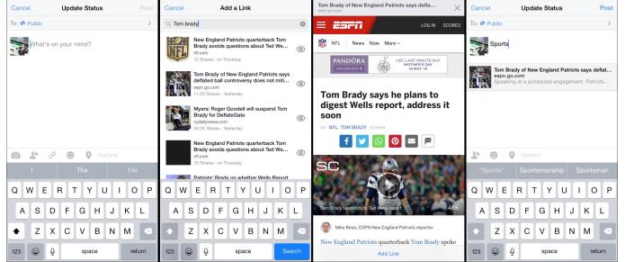 Add a link, novo recurso do Facebook, permite busca de artigos dentro do app (Foto: Reprodução/TechCrunch)