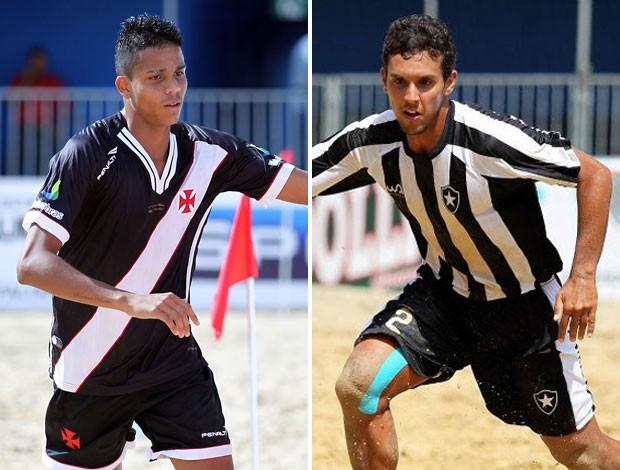 futebol de areia Mauricinho, do Vasco, e Rafinha, do Botafogo. (Foto: montagem sobre foto da Inovafoto)