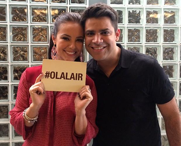 Paolla Oliveira e Lair Rennó nos bastidores do Encontro (Foto: Samir Miguel / Gshow)