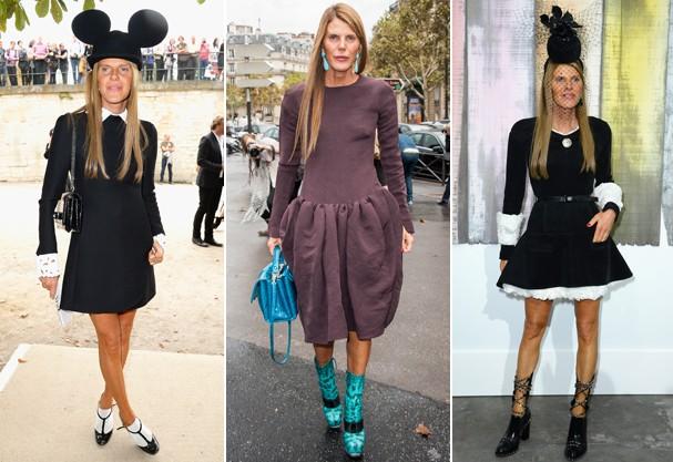 Alguns dos looks milionários usados por Anna durante as semanas de moda (Foto: Getty Images)