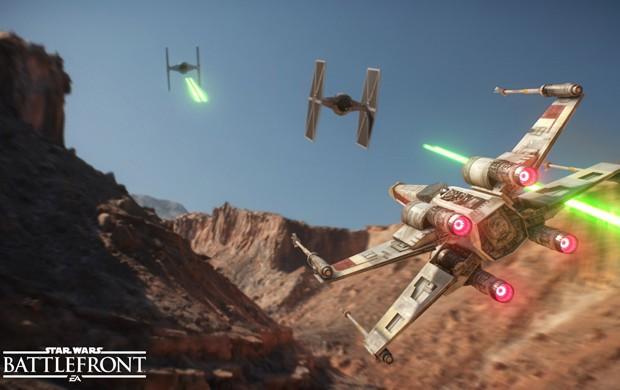 X-Wing persegue Tie Fighters em 'Star Wars Battlefront' (Foto: Divulgação/Dice)