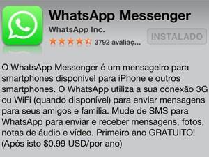 Aplicativo WhatsApp para ser baixado na App Store (Foto: Reprodução/WhatsApp)