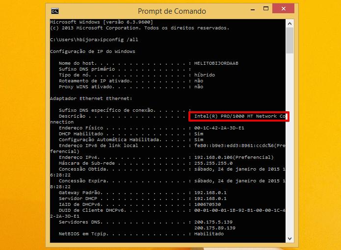 Anote o nome da placa de rede do seu computador (Foto: Reprodução/Helito Bijora)