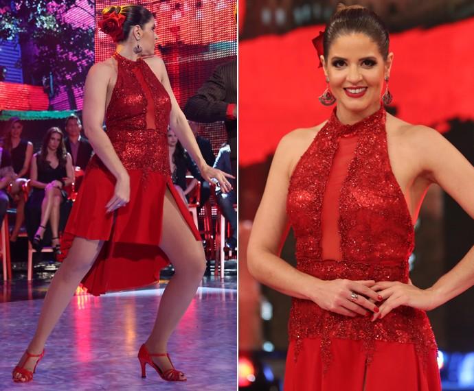 Que linda! Mariana Santos arrasou no tango e brilhou com esse look vermelho paixão (Foto: Carol Caminha / Gshow)