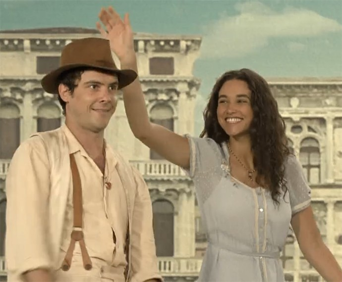 Sergio Guizé e Débora Nascimento contracenam na pele de Candinho e Filomena (Foto: Gshow)