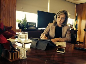 A ministra-chefe da Casa Civil, Gleisi Hoffmann, em entrevista exclusiva ao G1 (Foto: Juliana Braga / G1)