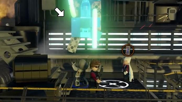 Destrua essa parede com Ultron para criar um Drone e conseguir um raro cartão do Capitão América em LEGO Avengers (Foto: Reprodução/Rafael Monteiro)