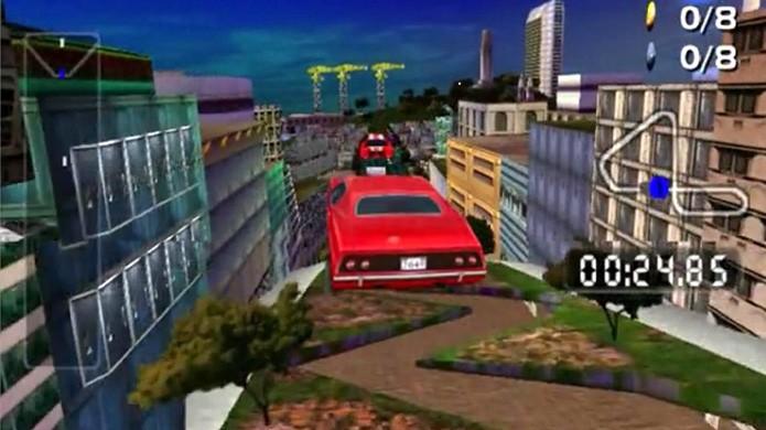 Com grandes saltos e temática futurista San Francisco Rush 2049 realmente usufruía do 3D (Foto: Reprodução/Games Database)