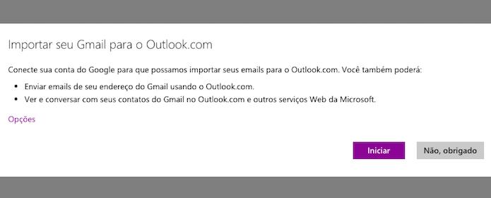 Iniciando o assistente de importação do Outlook (Foto: Reprodução/Helito Bijora)