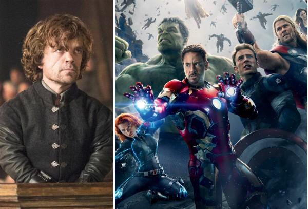 O ator Peter Dinklage e os Vingadores da Marvel (Foto: Reprodução)
