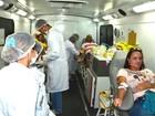 Ônibus do Hemoal coleta sangue no Clima Bom, em Maceió, neste sábado