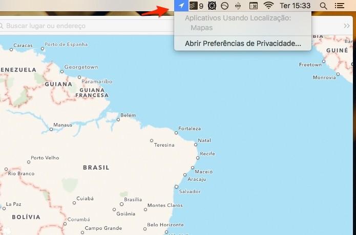 Ícone só é exibido quando um app utiliza os informações de localização. (Foto: Reprodução/Alessandro Junior)