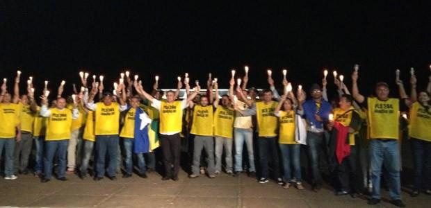 Papiloscopistas fizeram manifestação em frente ao Palácio da Alvorada nesta terça (30) (Foto: Priscilla Mendes / G1)