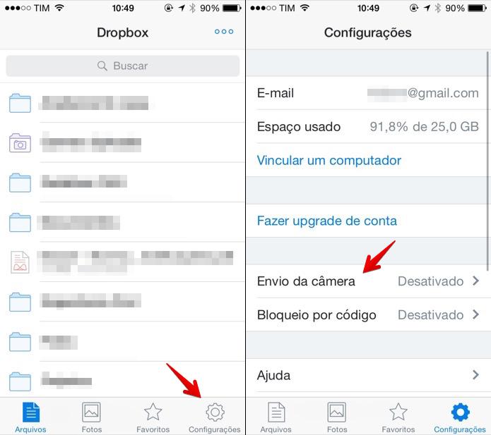 Acesse as configurações do Dropbox (Foto: Reprodução/Helito Bijora)  (Foto: Acesse as configurações do Dropbox (Foto: Reprodução/Helito Bijora) )