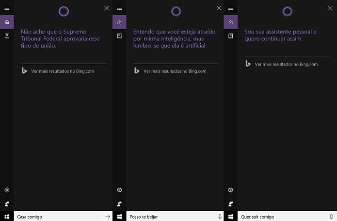 Cortana dá resposta à paquera (Foto: Reprodução/Tassia Moretz)
