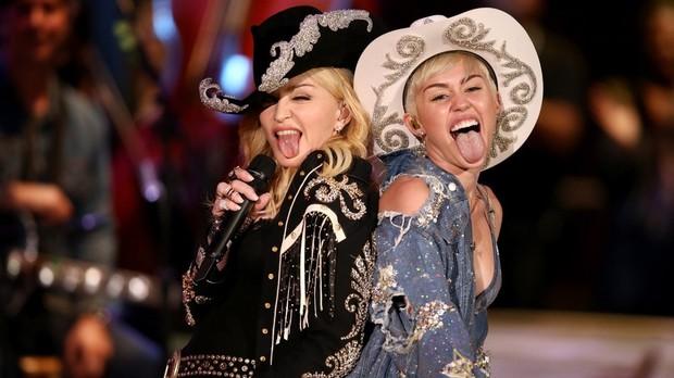 Miley Cyrus e Madonna (Foto: Divulgao)