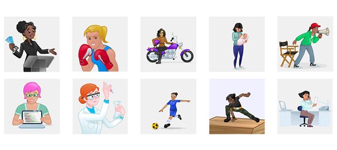 Novos emoticons apresentam mulheres em profissões e atividades diversas (Foto: Divulgação/Skype)