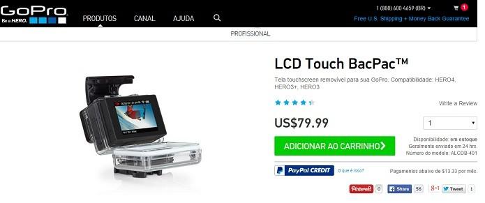 No site da GoPro, compras são feitas em dólar (Foto: Reprodução/Thiago Barros)