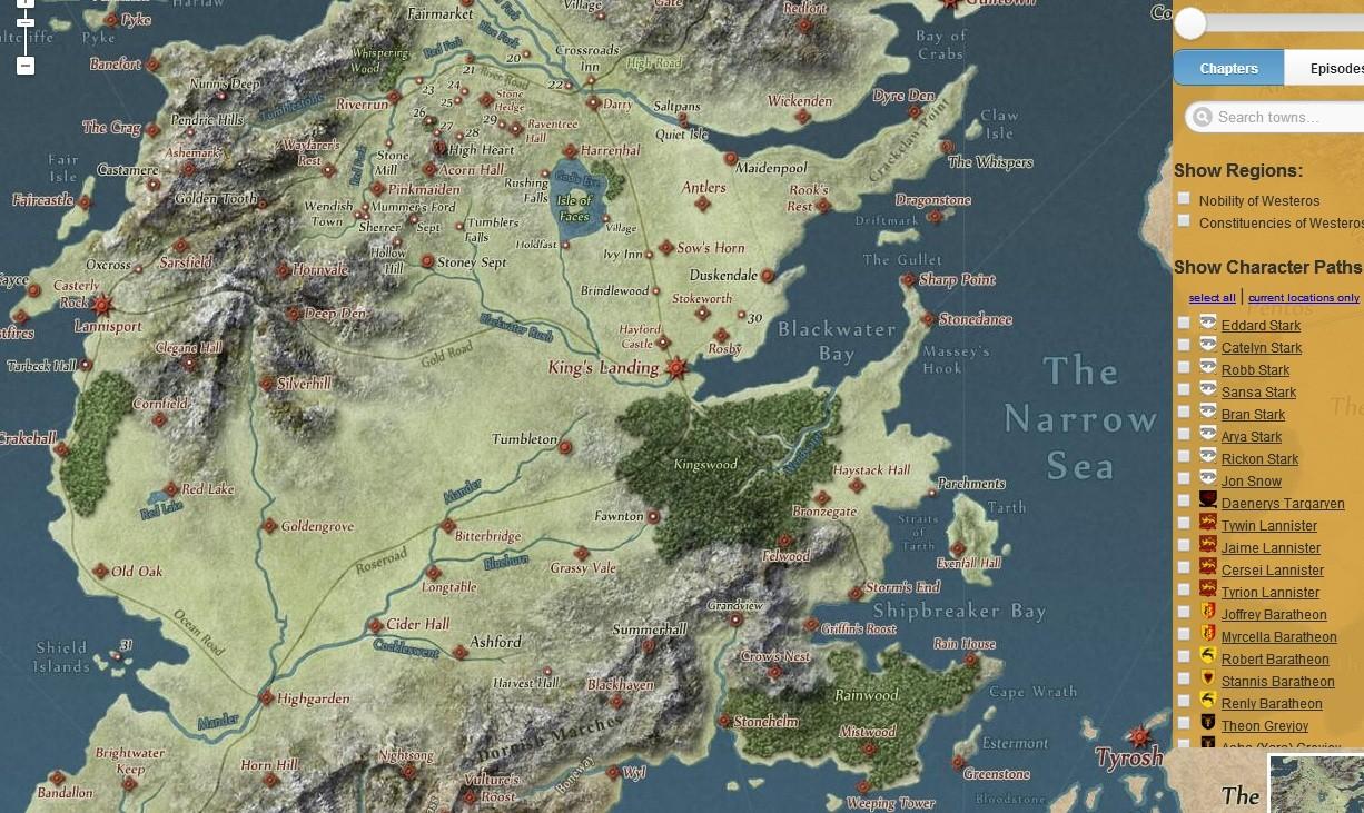 Navegue Na Geografia De Game Of Thrones Como No Google Maps