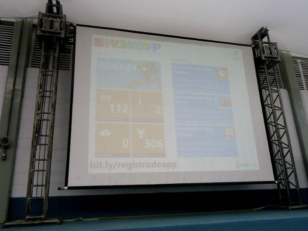 No final do evento, placar mostrou que 306 aplicativos foram desenvolvidos na 'Wowzapp' em Sorocaba (Foto: Eduardo Ribeiro Jr./G1)