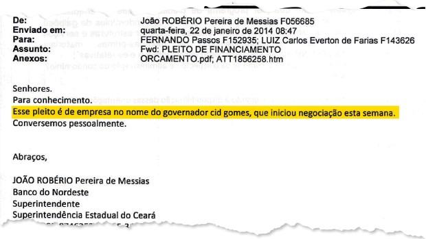 ATALHOS E-mail (abaixo) de João Robério Messias, superintendente do BNB no Ceará. O governo do Estado asfaltou a estrada que dá acesso ao galpão (acima) (Foto: Jarbas Oliveira/ÉPOCA)