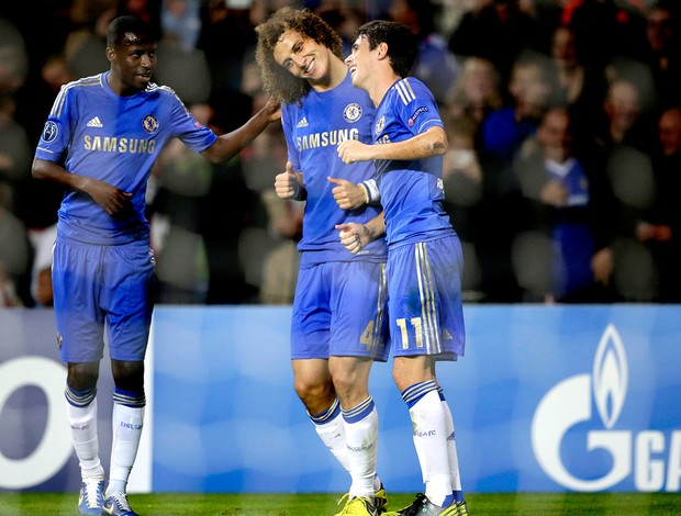 Ramires, David Luiz e Oscar no Chelsea (Foto: AFP)
