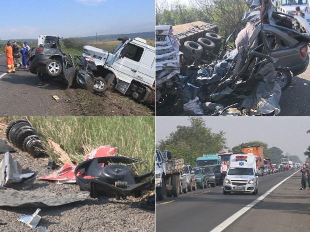 Montagem de acidente na BR-290, em Eldorado do Sul, RS (Foto: Reprodução/RBS TV)