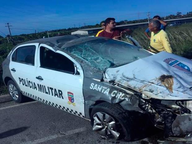 Acidente aconteceu na cidade de Santa Cruz, na região Agreste do RN (Foto: Divulgação/Polícia Militar do RN)