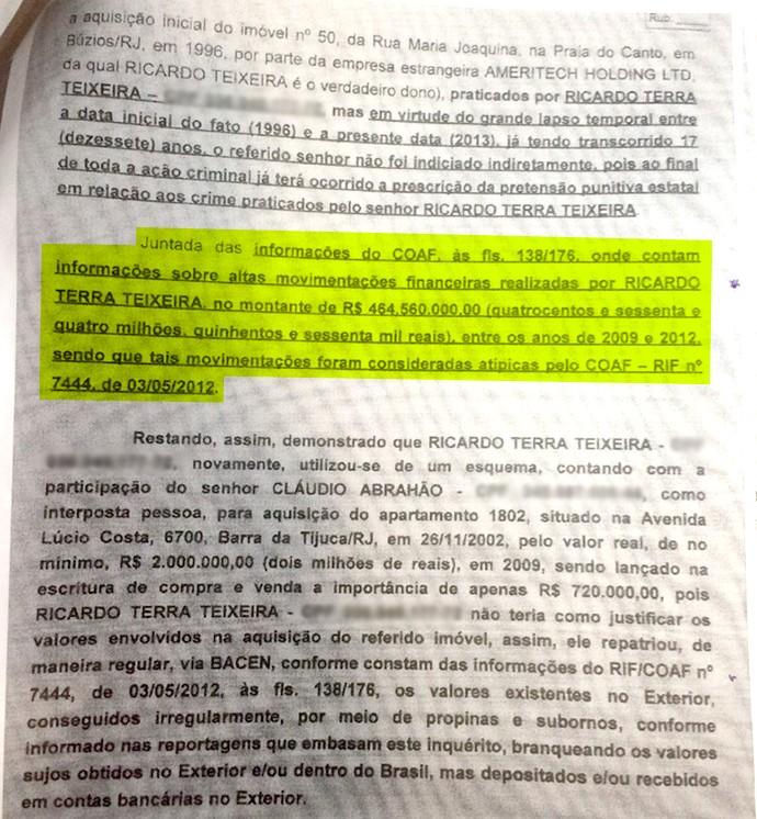 Relatório Ricardo Teixeira 1 (Foto: Reprodução)