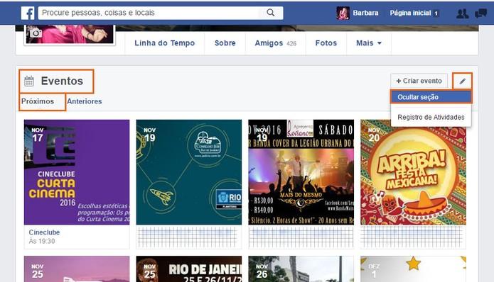 Oculte a aba de eventos no seu perfil do Facebook (Foto: Reprodução/Barbara Mannara)