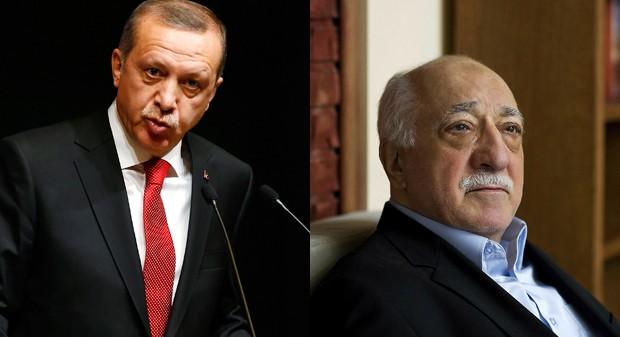 Presidente turco Tayyip Erdogan (esq.) declarou luta contra 'estado paralelo', que seria liderado pelo clérigo muçulmano Fethullah Gulen (dir.), que vive nos Estados Unidos (Foto: REUTERS/Umit Bektas/AP Photo/Selahattin Sevi)