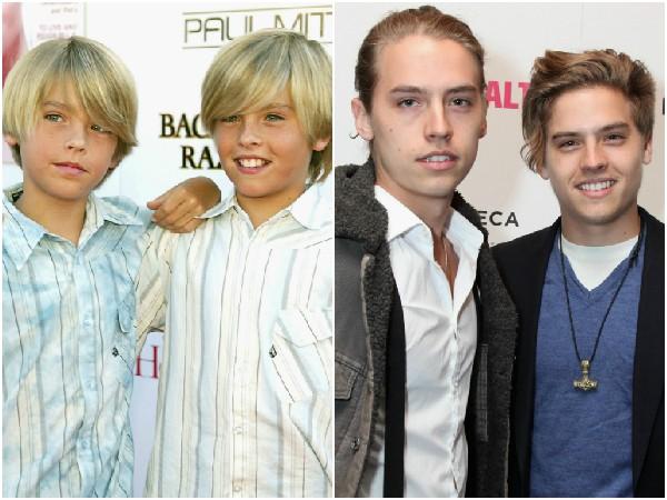 Dylan e Cole Sprouse  em 2004 e 2014 – Já faz 10 anos que Dylan e Cole estrelaram 'Zack e Cody: Gêmeos em Ação' e antes disso haviam interpretado Ben, o filho de Ross em 'Friends'. Hoje em dia, Cole está prestes a se formar em arqueologia e Dylan em design de vídeo. (Foto: Getty Images)