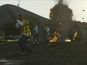 Cena de 'Grand Theft Auto Online', o modo multiplayer de 'GTA V' (Foto: Reprodução)