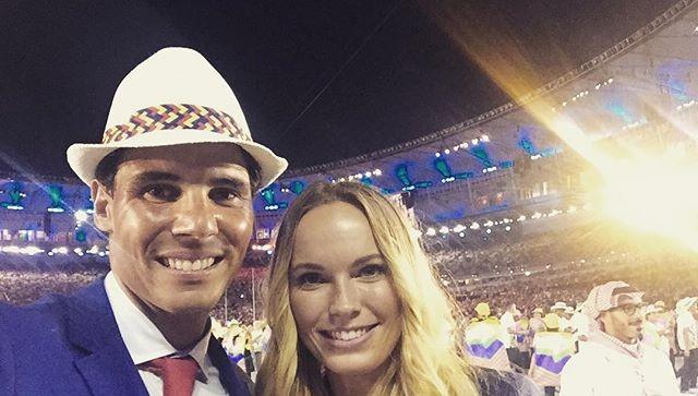 Caroline Wozniacki posa com Rafael Nadal no Maracanã (Foto: Instagram)