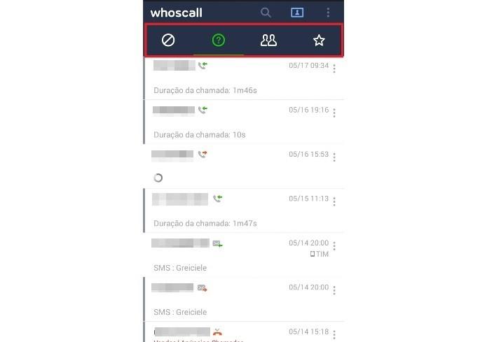 Listas de chamadas no Line Whoscall (Foto: Reprodução/Lívia Dâmaso)