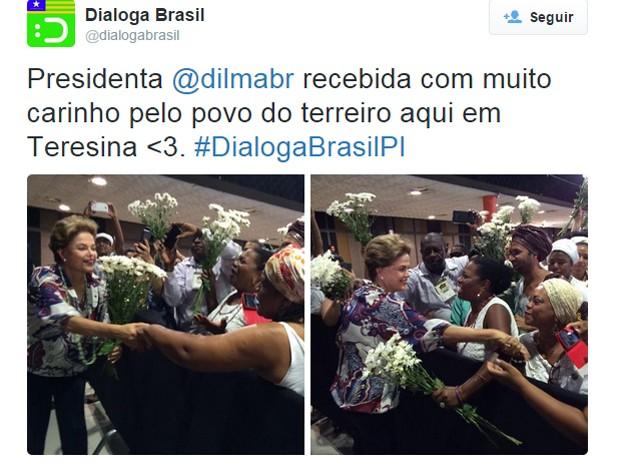 Presidente Dilma Rousseff em Teresina (Foto: Reprodução/Twitter Dialoga Brasil)