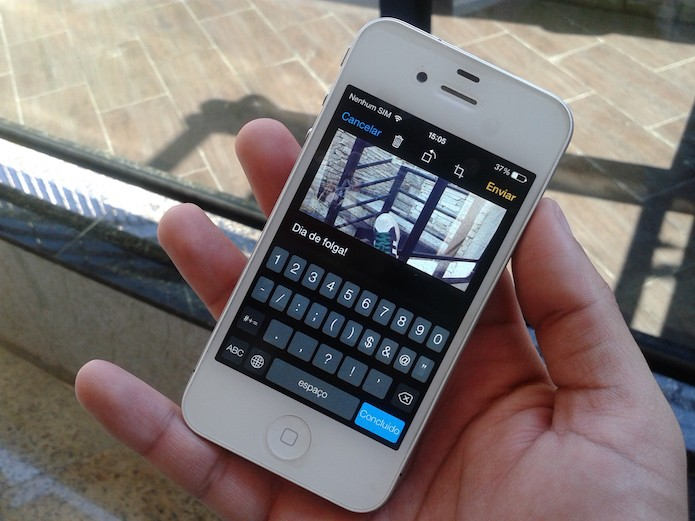 Como inserir legendas em fotos e vídeos enviados pelo WhatsApp do iOS? (Foto: Marvin Costa/TechTudo)