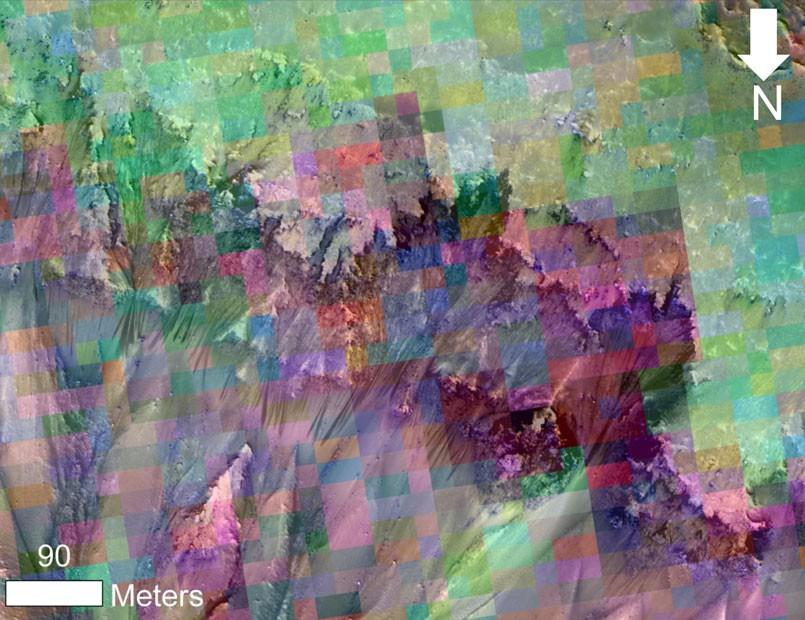 Uma combinação de imagens mostra fluxos sazonais que surgiram na superfície de Marte, indicando presença de água (Foto: NASA/JPL-Caltech/Univ. do Arizona)