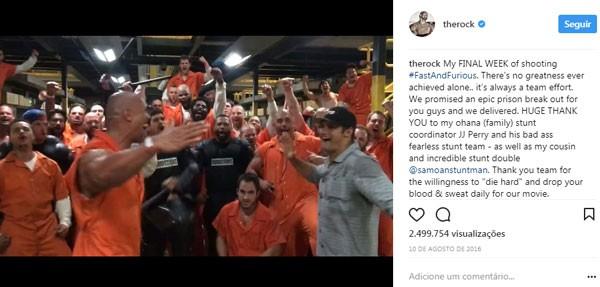 Postagem de Dwayne Johnson (Foto: Reprodução/Instagram)