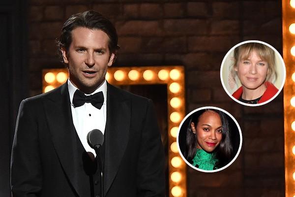 Bradley Cooper, Renée Zellweger e Zoe Saldana (Foto: Getty Images)