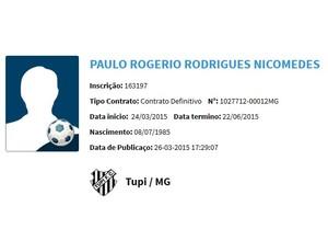 Paulão zagueiro BID Tupi-MG (Foto: Reprodução/CBF)
