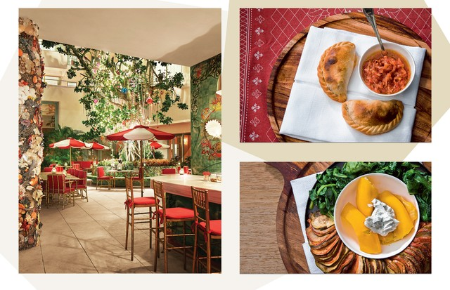 Restaurante Los Fuegos, e, ao lado, empanadas de carne com molho de pimenta llajwa e ratatouille feito no forno a lenha (Foto: Divulgação, Talbot Lindsay e Eric Wolfinger)