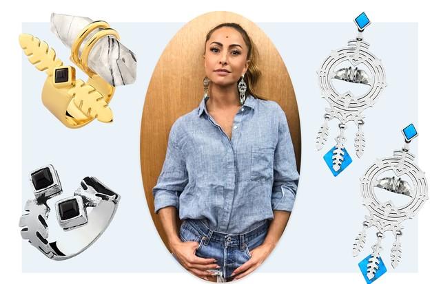 Sabrina Sato e as peças da nova coleção (Foto: Arte Vogue Online)